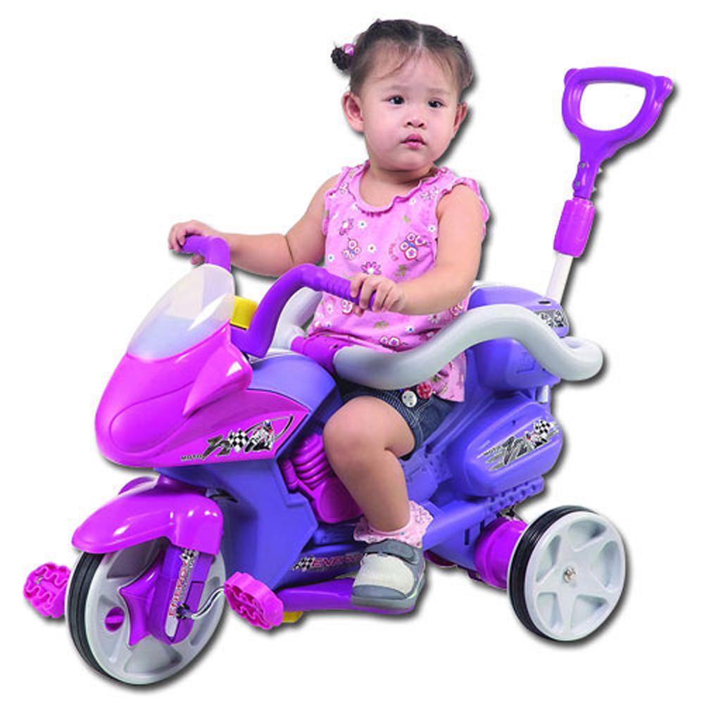【寶貝樂】好拉風重機三輪車附拉桿及護欄(紫)