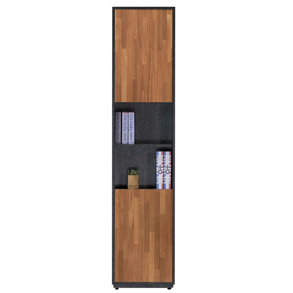 AT HOME-布拉格1.35尺鐵刀柚木二長門中空書櫃