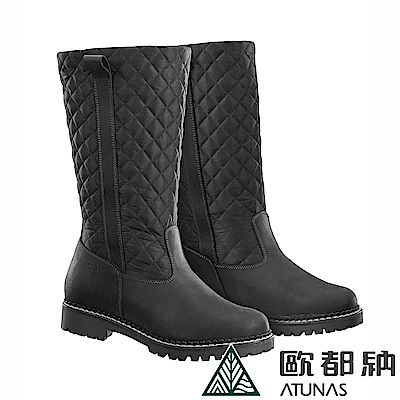 【ATUNAS 歐都納】女款高筒經典菱格紋保暖雪靴GC1-1607黑
