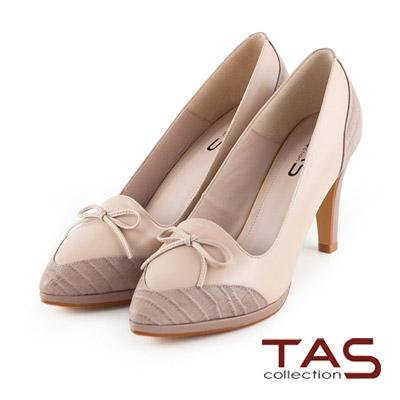 TAS-動物紋拼接蝴蝶結尖頭高跟鞋-氣質裸