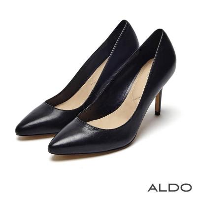 ALDO 摩登原色真皮尖頭車線細高跟鞋~尊爵黑色