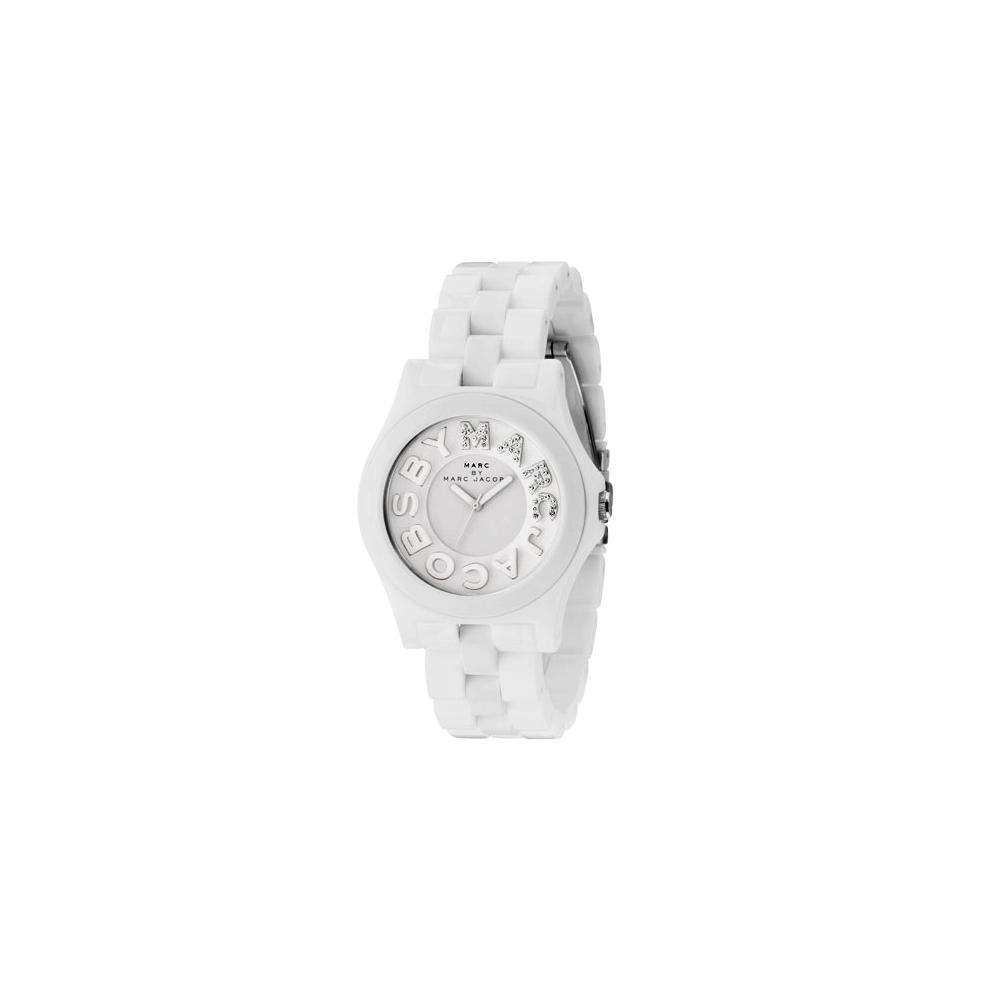 Marc Jacobs MARC 晶鑽時尚玻麗腕錶-高雅白/40mm