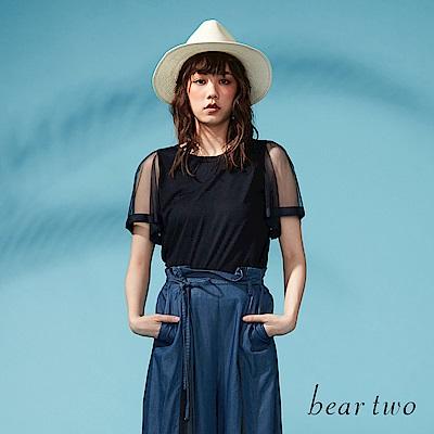 beartwo 網路獨家-透膚紗質拼接袖造型上衣(深藍)