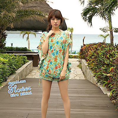 【AngelLuna日本泳裝】度假風情四件式比基尼泳衣-綠色一字領