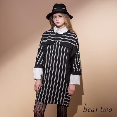 beartwo個性條紋拼接長版造型上衣-共二色