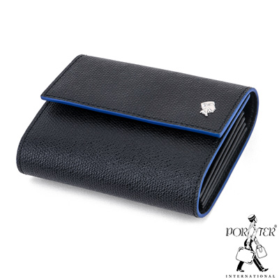 PORTER-大膽玩色BOLD多夾層真皮卡片夾-藍
