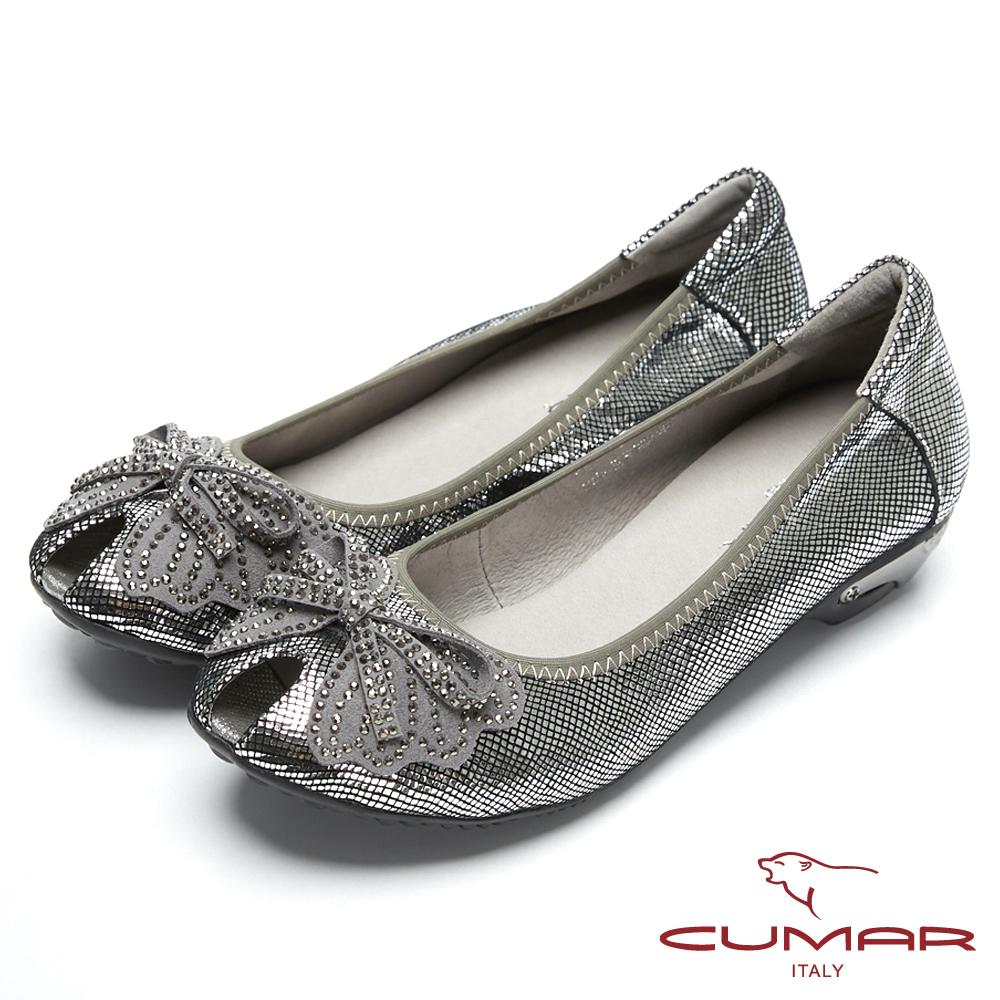 CUMAR搶眼時尚-金屬色系造型魚口鞋-銀色