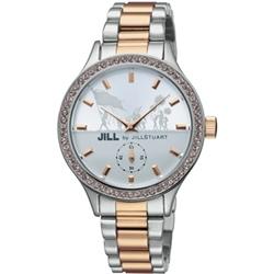 JILL STUART Big Leather系列晶鑽小秒針腕錶-銀白x玫瑰金/34mm