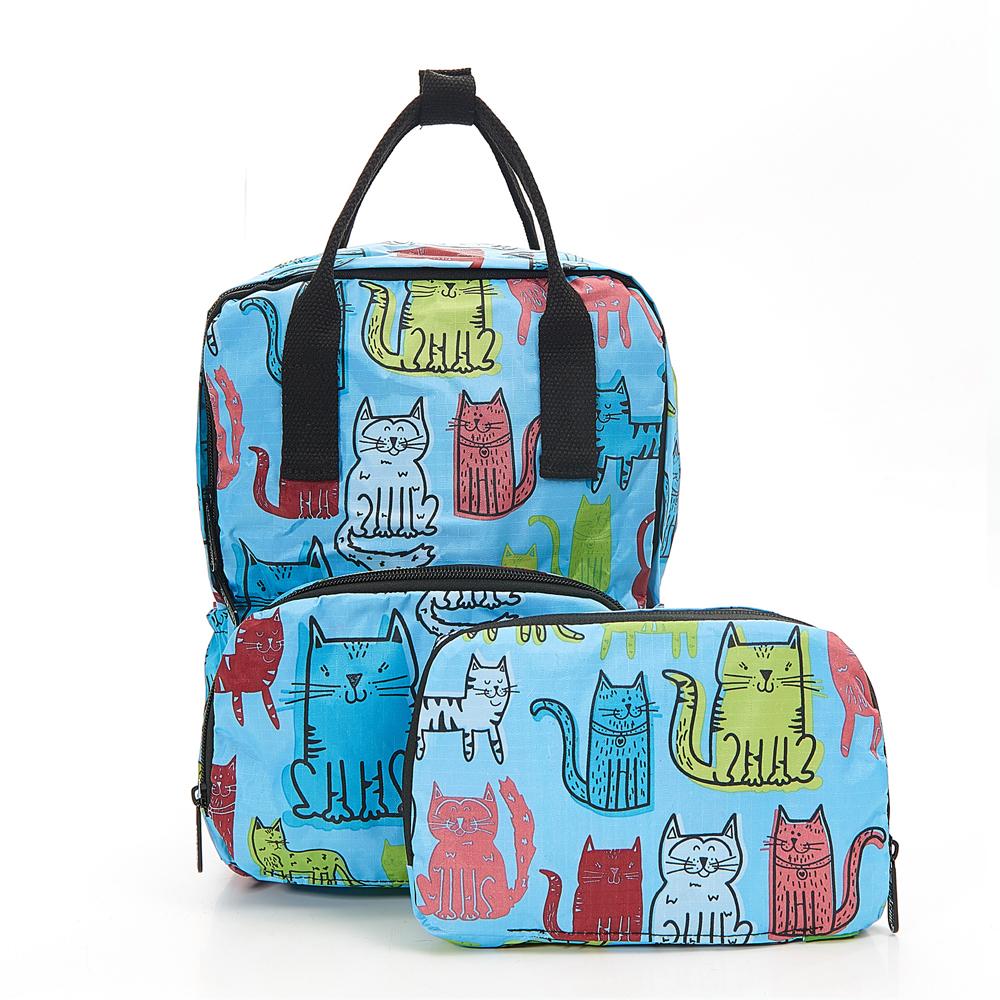 英國ECO CHIC方形折疊收納迷你後背包-塗鴉貓