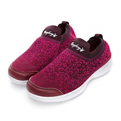 PLAYBOY彩織時尚 超輕量針織襪套休閒鞋-酒紅