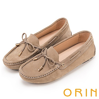 ORIN 經典復古時尚 真皮手縫平底帆船鞋-可可