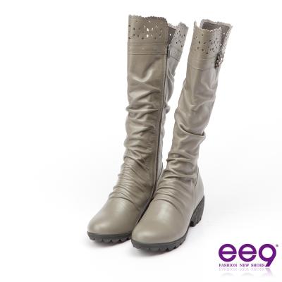 ee9 MIT經典手工~質感簡約自然抓皺星光閃耀粗跟長筒靴*灰色