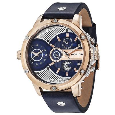 POLICE 王者風範雙時區皮革手錶-藍X玫瑰金/52mm