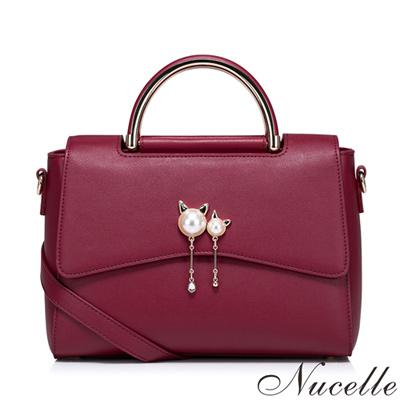 NUCELLE 珍珠艾麗莎手提包 艷麗紅