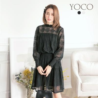 東京著衣-yoco 純淨優美小立領縮腰微透膚洋裝-S.M.L(共二色)