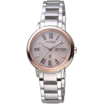 CITIZEN星辰 xC系列自信魅力光動能腕錶-32.5mm/銀色