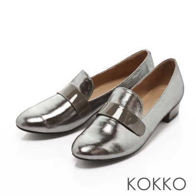 KOKKO-美式休閒真皮樂福懶人跟鞋 - 古銅銀