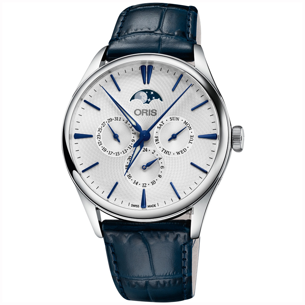 Oris 豪利時 Artelier藝術家月相盈虧機械錶-銀x藍/40.5mm
