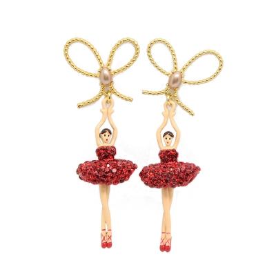 Les Nereides 優雅芭蕾舞女孩系列 閃耀珍珠蝴蝶結閃耀紅色水晶舞者耳針式耳環