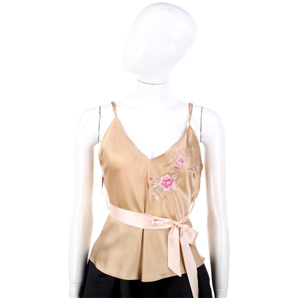BLUMARINE 金色絲緞繡花細肩帶背心 @ Y!購物