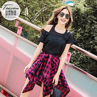 台灣品質.世界同布~透膚橫條紋吸濕排汗運動上衣-OB大尺碼
