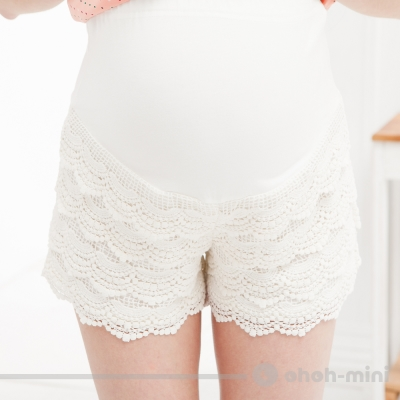 ohoh-mini 孕婦裝 俏麗蛋糕式蕾絲孕婦短褲-2色