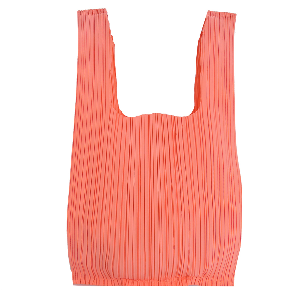 ISSEY MIYAKE 三宅一生PLEATS PLEASE 褶皺購物袋(珊瑚紅)