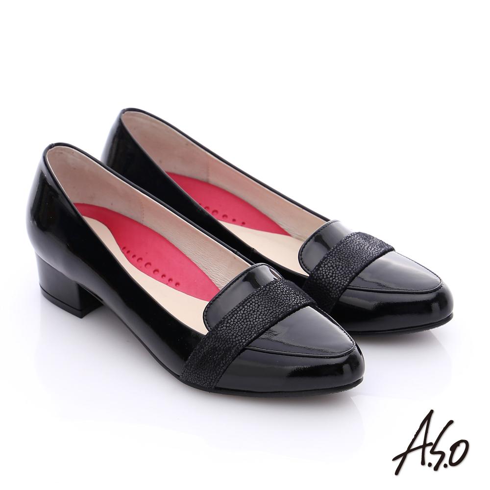 A.S.O 職場女力 全真皮拼接條帶低跟鞋 黑色