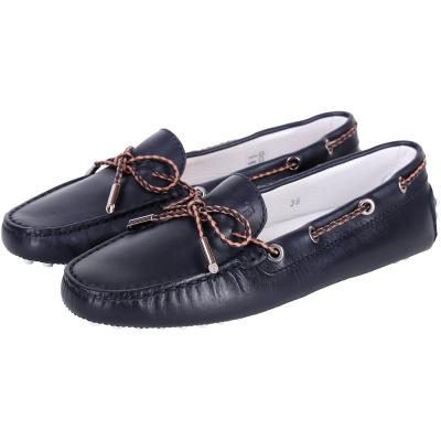 TOD'S Gommino Driving 雙色編織綁帶豆豆休閒鞋(深藍色)