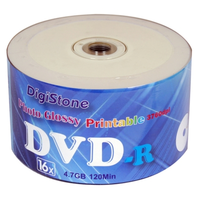 DigiStone DVD-R  16 X 相片亮面防水滿版可印片  3760 dpi  100 片