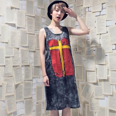 古著 紅色聖經十字架仿舊感水洗背心洋裝
