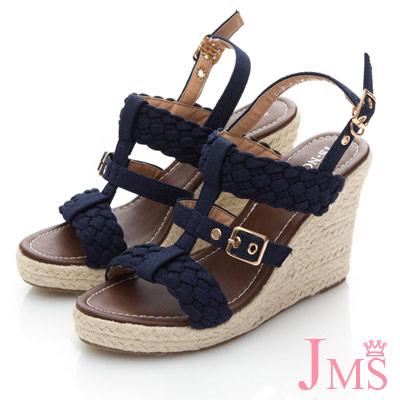 JMS-羅馬假期編織金屬扣楔型涼鞋-藍色