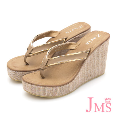 JMS-高質感素雅滾金邊夾腳厚底楔型涼拖-杏色