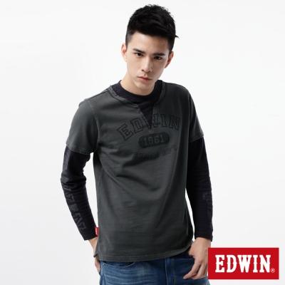 EDWIN-T恤-印花假兩件設計T恤-男-暗灰色
