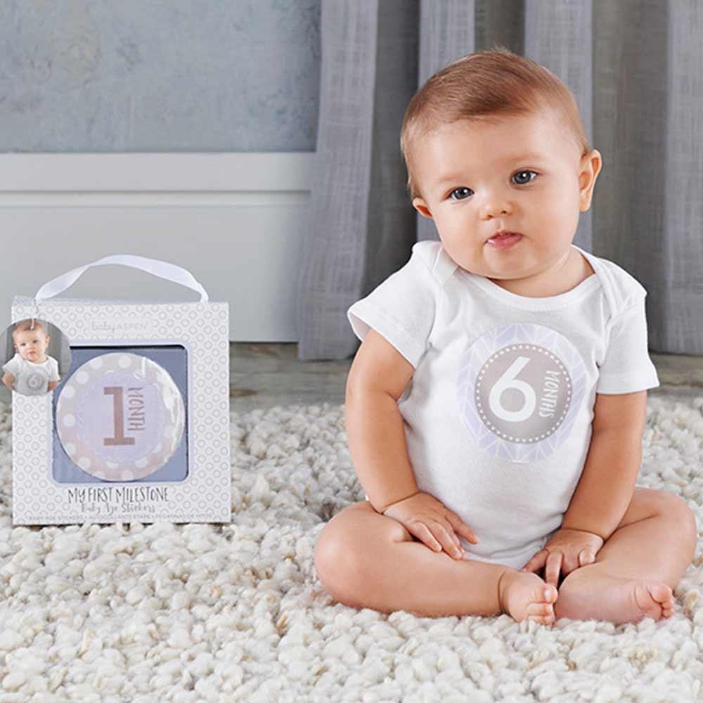 Baby Aspen BAS 藍色寶寶月份紀錄貼紙彌月禮組