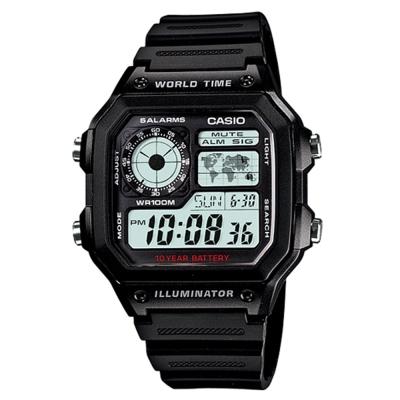 CASIO 世界地圖十年電力數位錶(AE-1200WH-1A)-45mm