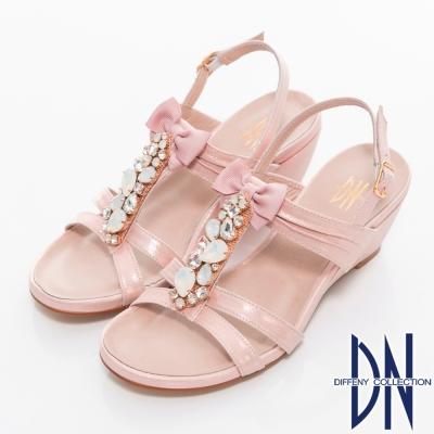 DN-耀眼精緻-MIT珠光牛皮鑽飾坡跟涼鞋-粉