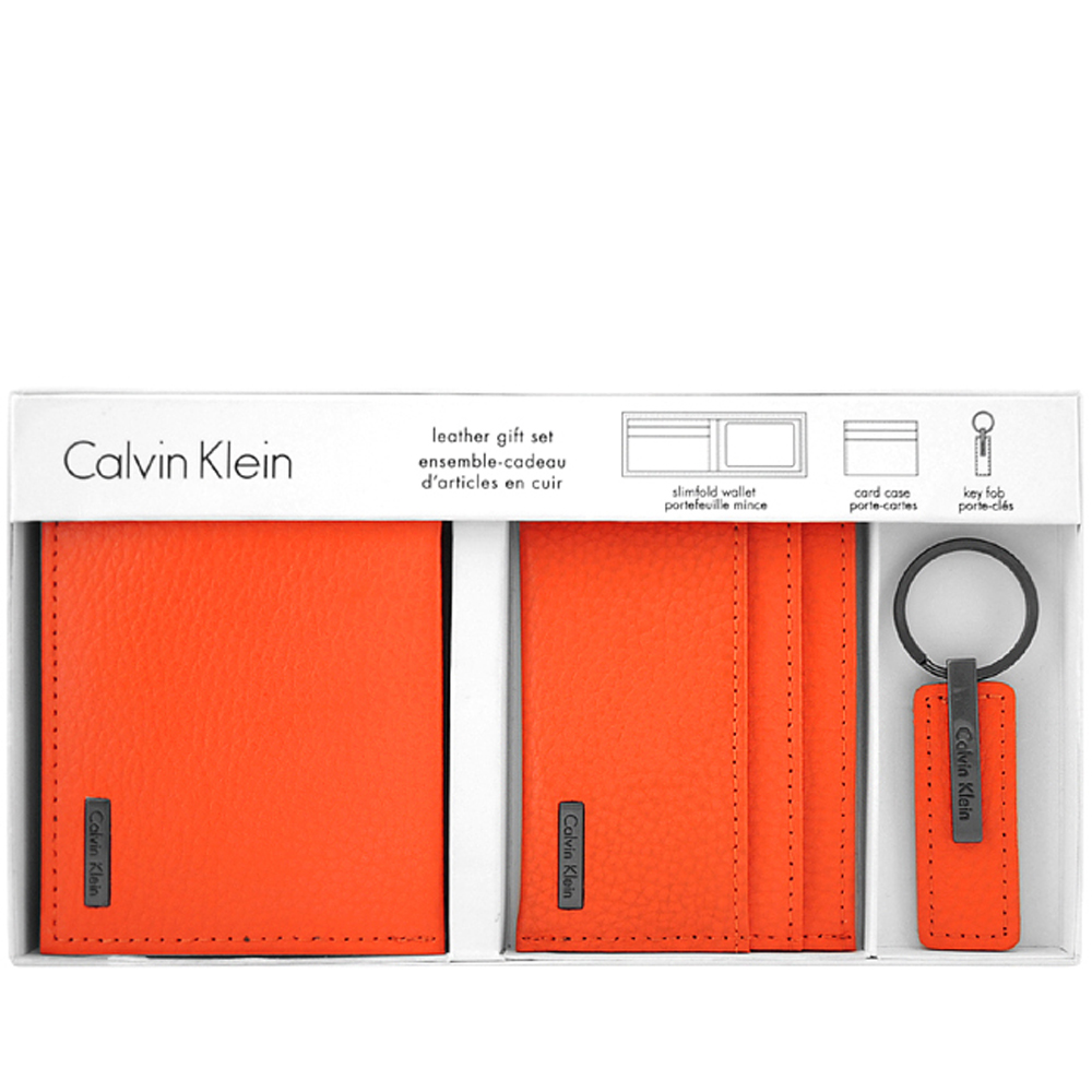 Calvin Klein 橘色皮革壓紋雙摺六卡短夾-附名片夾及鑰匙圈