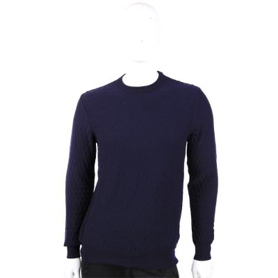 ARMANI 深藍色羊毛LOGO織紋長袖上衣
