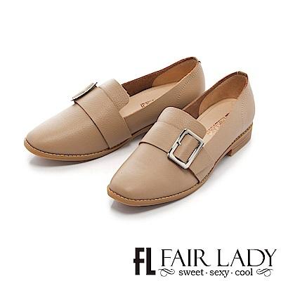 Fair Lady 學院風方型釦帶平底樂福鞋 卡其