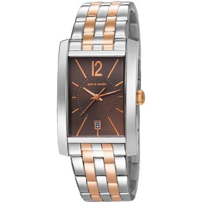 pierre cardin皮爾卡登 品味步調方型時尚腕錶-玫瑰金X咖啡/35mmx30mm