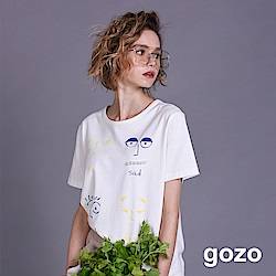 gozo 趣味表情插畫短袖棉T(二色)
