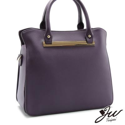 JW-真皮愛莉絲樂園簡約手肩側包-神秘紫-快