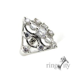 RingCity 菱形鏤空色鋯石組合鑽戒(白鑽色系列)