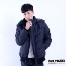 BIG TRAIN 男用仿毛呢絲棉外套-男-黑底印紋