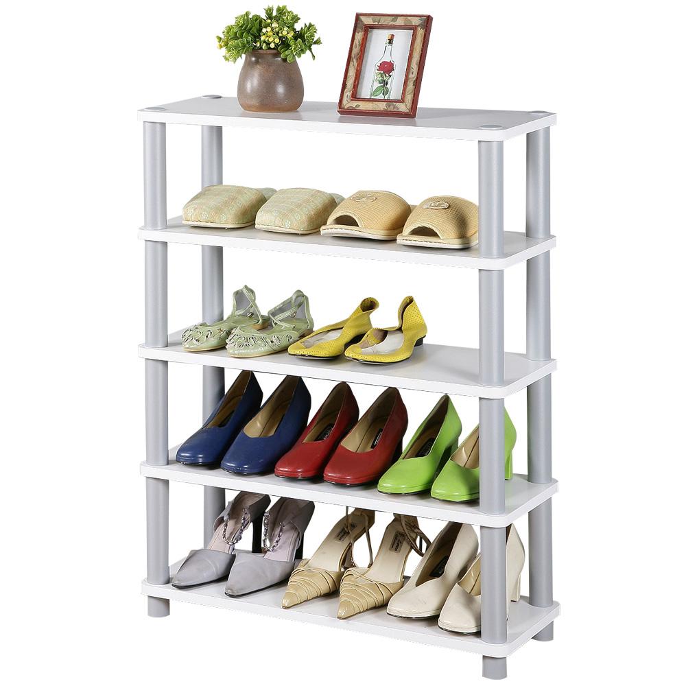 《Homelike》簡約五層開放式鞋架-純白色