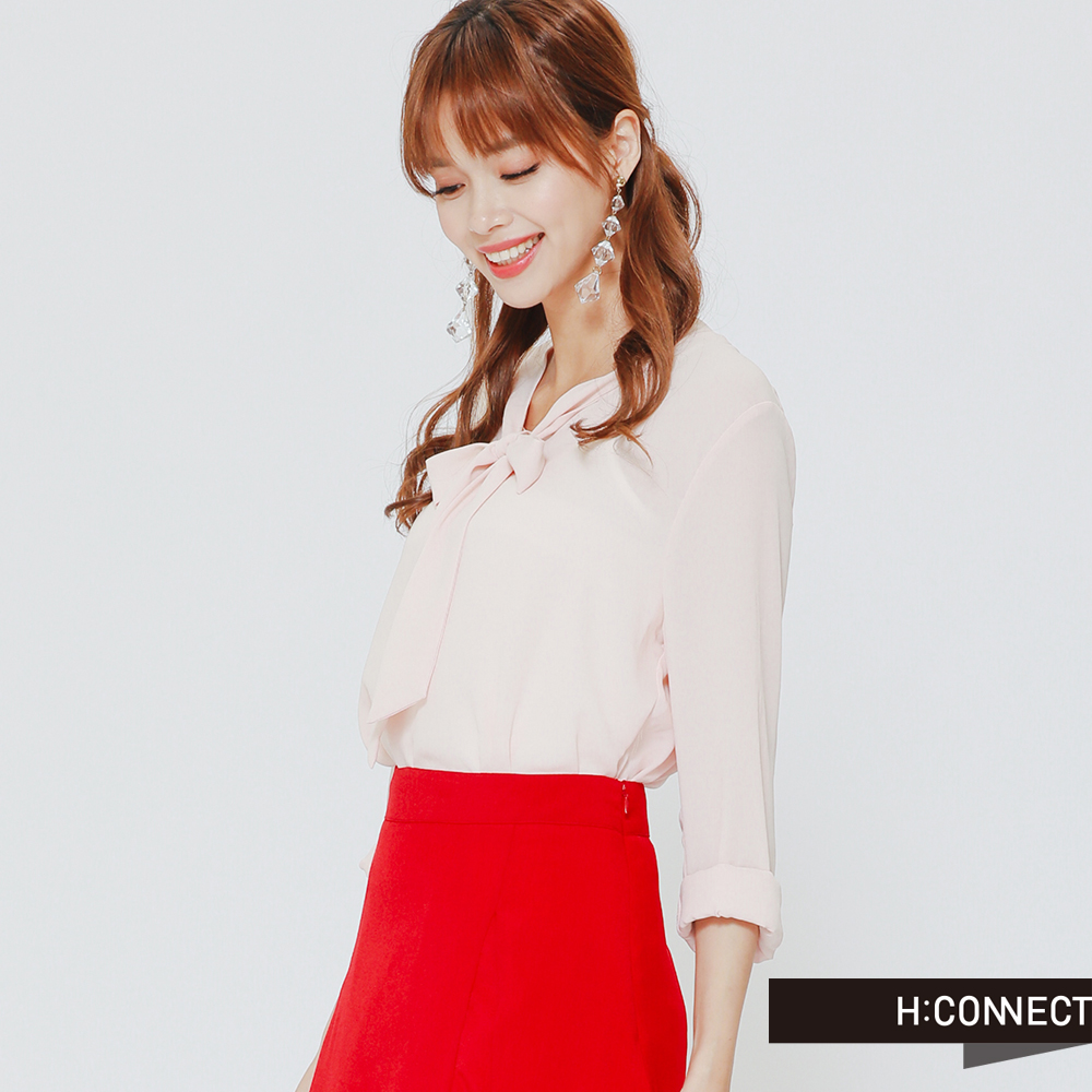 H:CONNECT 韓國品牌女裝 -左開衩單色不規則收邊中長裙-紅
