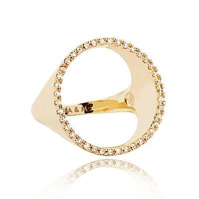 ASTRID&MIYU英國潮流品牌 裸空水鑽圓形戒指 金色
