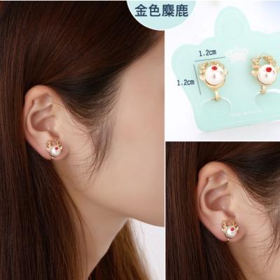 梨花HaNA-無耳洞韓國聖誕快樂迷路麋鹿耳環夾式