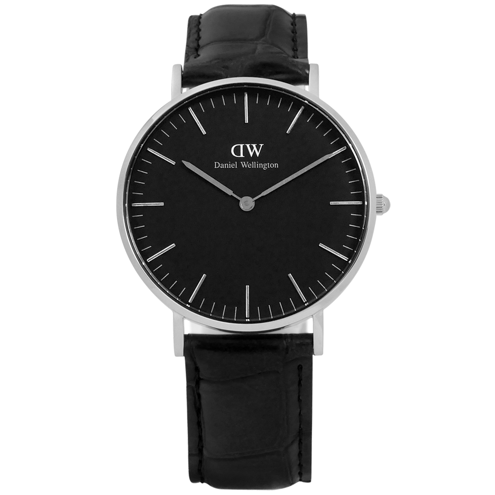 DW Daniel Wellington Black經典壓紋真皮手錶-黑色/36mm